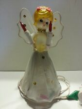 "Vintage 1960's Lighted Angel tree topper nylong,  plastic, wire 7"" Tall"