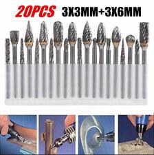 20x Head Tungsten Carbide Steel Rotary Burr Die Grinder Bit Shank Carving Set Cs