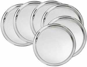 Stainless Steel Mirror Finish 24 Gauge Kitchen Dinner Plates Set of 6 Pieces