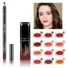 2Pcs Long Lasting Lipstick Waterproof Matte Liquid Lip Gloss w/ Lip Liner Beauty