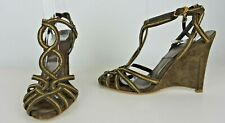 Christian Dior Strappy Brown & Gold Wedge Sandals EU Sz 36 Made in Italy