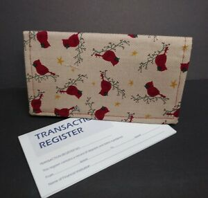 CHECKBOOK Cover Cardinals  Fabric Pattern Wallet Debit Registry Document Holder