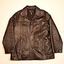 J CREW Black Leather Mens L Car Coat Jacket Wool Blend Lining Button Front EUC
