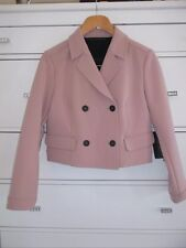 Zara Nude Blush Pink Double Breasted Short Blazer Jacket Size M, Uk10
