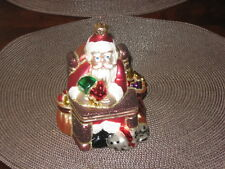 Santa with Dog / Dalmation Glass  Christmas Ornament  Made in Poland