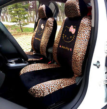 10pc. Hello Kitty Pink Leopard Print Universal Interior Car Seat Cover Set