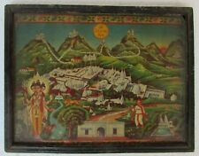 Vintage Old Collectible God Dattatreya With Girnar Mountains Temple Print Frame.