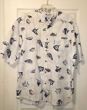 COLUMBIA MEN'S CASUAL SHIRT WITH FISH PATTERN, SIZE L