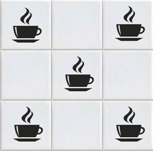 Coffee Cup  Vinyl Tile Transfers Sticker Decal For Kitchen (vd3)