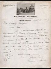 1923 Seattle - Riverton Sanatorium - Tubercular Disease - Letter Head History