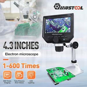 MUSTOOL 12MP 1-600X/1-1200X  LCD HD Desktop Digital Microscope Zoom Magnifier