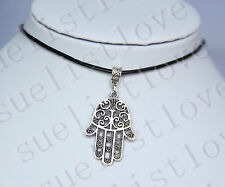 Hamsa Symbol Hand Charm Pendant Choker Necklace with Black Genuine Leather Cord