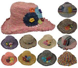 Cáñamo Algodón Paja Sombrero de Sol Panamá Borde Ancho Vacaciones Verano Luz