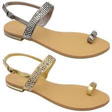 Womens Ladies Sandals Diamante Summer Fancy Flat Heel Party Wedding Shoes Size