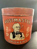 OLD VINTAGE POSTMASTER CIGAR TIN CANISTER FACTORY 17 VIRGINIA