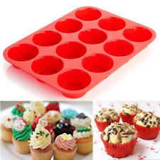 12 Cup Silicone Muffin Cupcake Baking Pan Kitchen Cake Mould Microwave Moulds US