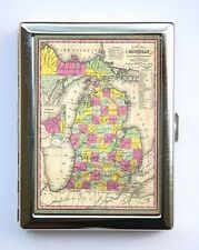 Michigan Map Cigarette Case Wallet Business Card Holder id case atlas map