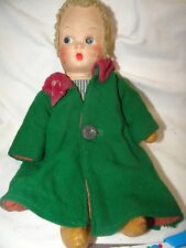 "Vintage/Antique 12"" Estate Doll blue striped dress green coat stuffed body"