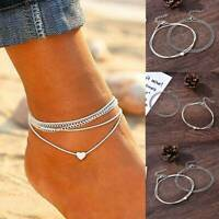 Fashion Love Heart Ankle Bracelet Foot Chain 925 Silver Women Beach Anklet Retro