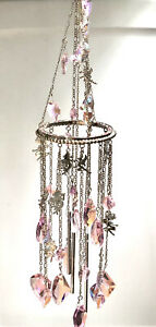 KIRKS FOLLY Mystic Fairy Pink Crystal Chandelier Wind Chime Silver-Tone RETIRED