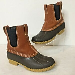 EUC LL BEAN BOOTS Womens 7 BROWN CHELSEA Mid-Calf LEATHER/RUBBER Duck Made USA