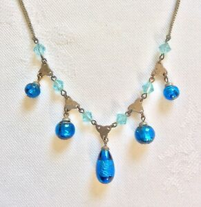 Vintage Art Deco Signed Czech Peacock Blue Foil Glass Drop Necklace