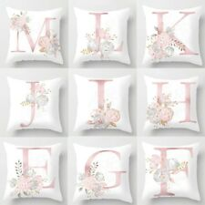 Letter Polyester White Cushion Cover Pillow Case Waist Throw Home Sofa Decor