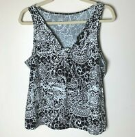 a.n.a. Women's Sleeveless Tank Top Size Large Black White Casual Work Career