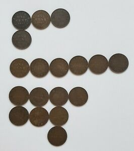Canada Large Cent Lot of 18 Copper Coins 1902-1919