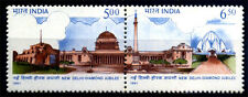 India 1991, Diamond Jubilee New Delhi, Rastrapati Bhawan & Lotus, Set of 2, MNH