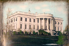 "U.S. WHITE HOUSE WASHINGTON DC 1848 8x12"" HAND COLOR TINTED PHOTOGRAPH"
