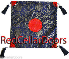 """New Navy Blue Chinese Brocade with Gold & Red Emblem Tassels 16"""" Sq Beauty Z3B"""