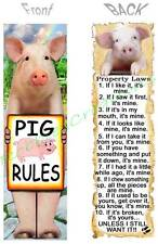 PIG RULES BOOKMARK Book Mark Card FUN Property Laws Farm Pet Animal ART Figurine