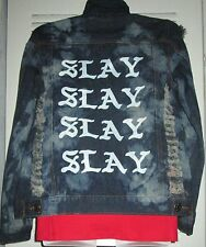 SLAY SLAY! RIPPED HOLEY Bleach Fitted Distressed Denim Jean Jacket Jrs S M BEY