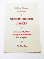 Authentic Rare Vintage 1949 USC Stanford Official Basketball Program Score Card