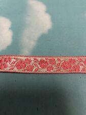 "3/4 ""metallic silver pink jacquard ribbon doll trim 5 yds"