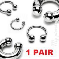 "2pcs. 12g to 00g~1/2""- 3/4"" 316L Steel Horseshoe Circular Barbell Ears, Septum"