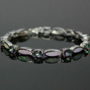 Sterling Silver Fire Opal & Green Mystic Rainbow Fire Stone Tennis Bracelet 19cm