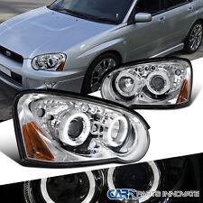 For Subaru 2004-2005 Impreza WRX LED Halo Projector Headlights Lamps Chrome Pair