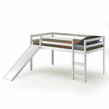 Twin Size Loft Bed with Slide Wood Low Sturdy Loft Bed for Kids Bedroom White