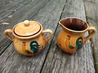 Vintage Pennsbury Pottery Rooster Creamer & Sugar Bowl