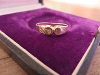 Super Toller 925 Silber Ring Vergoldet Kleiner Zirkonia Solitär 70er 80er Modern