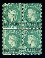 MOMEN: ST HELENA SG #34 EMERALD 1884 BLOCK USED LOT #60433