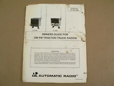 AR Automatic Radio TAF-7600 TAF-8000 AM-FM Tractor/Truck Owners Guide Manual