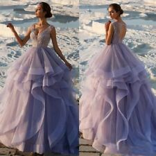 Purple Wedding Dresses Bridal Ball Gowns Beading Beaded Sleeveless V Neck Ruffle