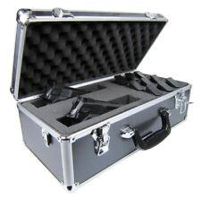 Premium Black Aluminum Vertical Multi-Pistol Gun Carrying Case Customizable Foam