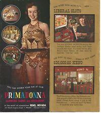 1950s Primadonna Gambling Casino, Reno, Nevada Advertising Brochure