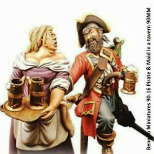 Beneito Miniatures 90-16 Pirate & Maid in a tavern Vignete 90MM