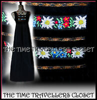 Vintage 70s Marion Donaldson Black Velvet Floral Folk Maxi Dress Festival UK 6 8