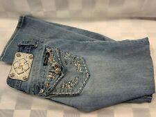 Miss Me Unterschrift Stiefel Denim Blau Jeans Damen Größe 24
